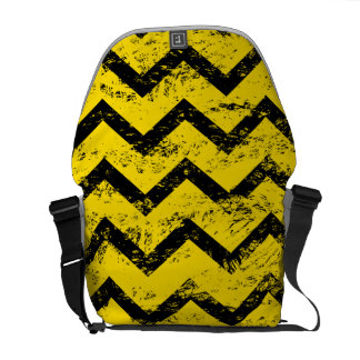 Yellow and Black Chevron Pattern Courier Bag