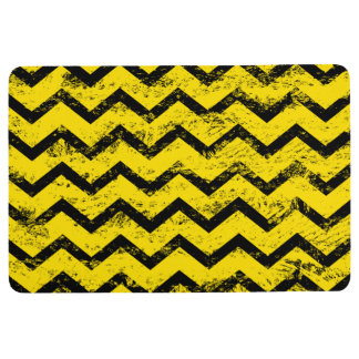 Yellow and Black Chevron Pattern Floor Mat