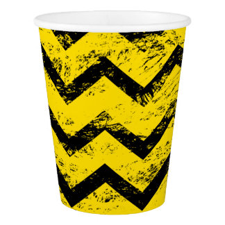 Yellow and Black Chevron Pattern Paper Cup
