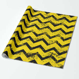 Yellow and Black Chevron Pattern Wrapping Paper