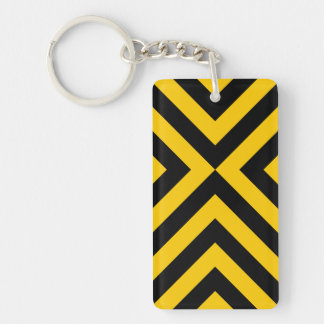 Yellow and Black Chevrons Double-Sided Rectangular Acrylic Keychain