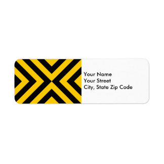Yellow and Black Chevrons return address label