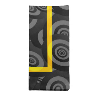 Yellow and Black Circle Oval Pattern Cloth Napkins