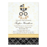 "YELLOW AND BLACK DAMASK BABY CARRIAGE BABY SHOWER 5"" X 7"" INVITATION CARD"