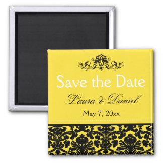 Yellow and Black Damask Save the Date Magnet