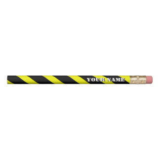 Yellow and Black Diagonal Stripes Add Your Name Pencil