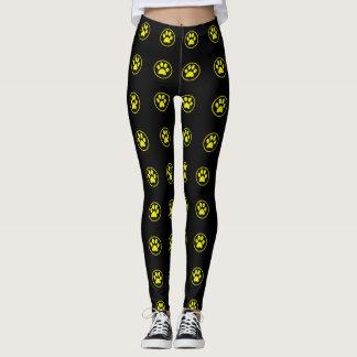 Yellow and black dog paw pattern leggings