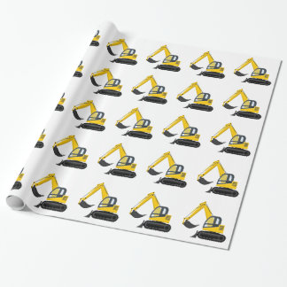 Yellow and Black Excavator Construction Machine Wrapping Paper
