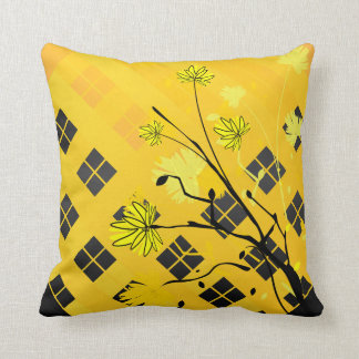 Yellow and Black Floral Abstract Pillow