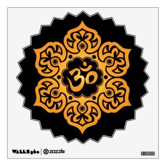 Yellow and Black Floral Om Wall Decal