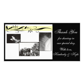Yellow and black floral Wedding Thank you card Customized Photo Card