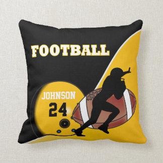 Yellow and Black Football | DIY Name & Number Throw Pillow