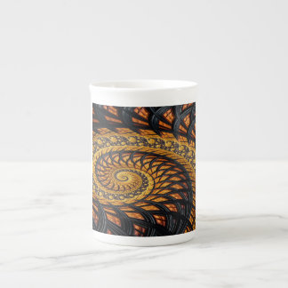 Yellow and Black Fractal Tea Cup