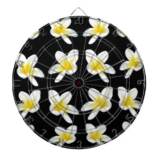 Yellow And Black Frangipani Pattern, Dartboard