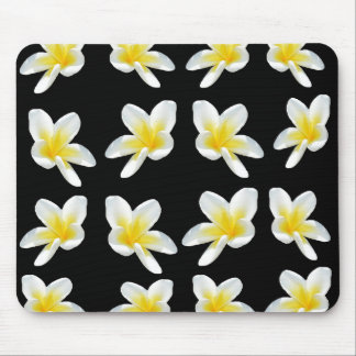 Yellow And Black Frangipani Pattern, Mouse Pad