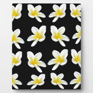 Yellow And Black Frangipani Pattern, Plaque