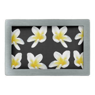 Yellow And Black Frangipani Pattern, Rectangular Belt Buckle