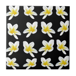 Yellow And Black Frangipani Pattern, Tile