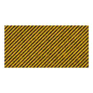Yellow and Black Hazard Stripes Texture Photo Card Template