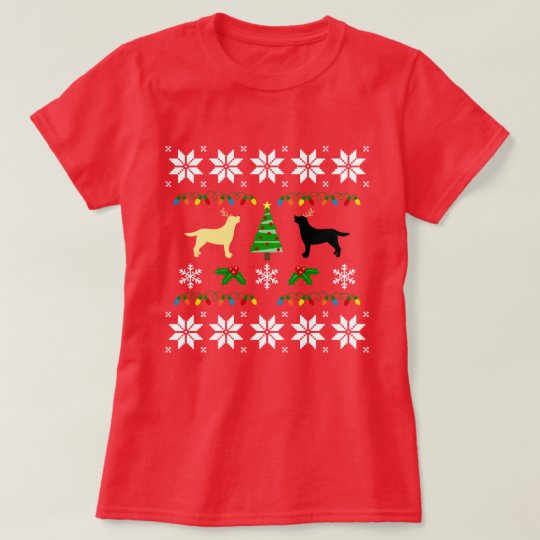 Yellow and Black Labrador Ugly Christmas  Tee