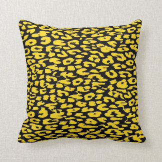 Yellow and Black Leopard Print Skin Fur Throw Pillow