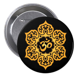 Yellow and Black Lotus Flower Om Button
