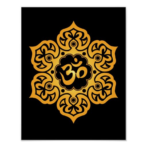 Yellow and Black Lotus Flower Om Poster