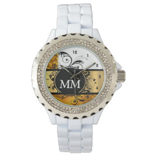 Yellow and black monogram on white wrist watches