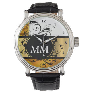 Yellow and black monogram on white wristwatch