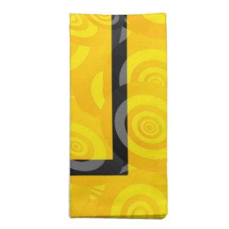 Yellow and Black Oval Circle Pattern Napkins