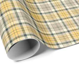 Yellow and Black Plaid Wrapping Paper