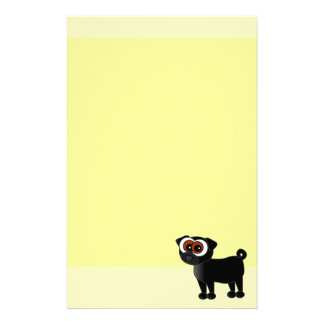 Yellow and Black Pug Stationery