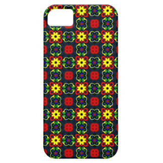 yellow and black retro flower pattern phone case
