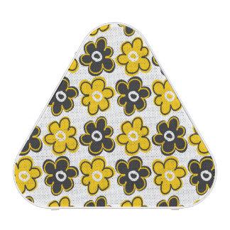 Yellow And Black Retro Flowers Pattern Bluetooth Speaker
