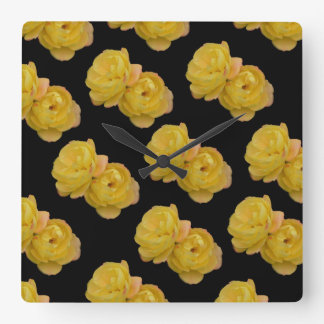 Yellow And Black Rose Pattern, Large Wall Clock. Square Wall Clock