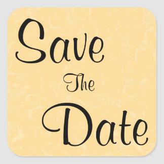 Yellow and Black Save The Date, Subtle Pattern Square Sticker
