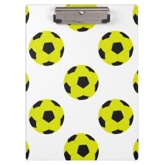 Yellow and Black Soccer Ball Pattern Clipboard