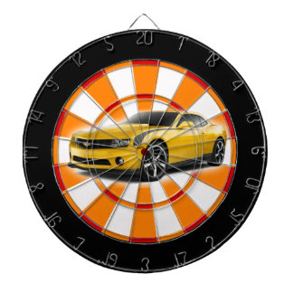 Yellow and black sports car dartboard with darts
