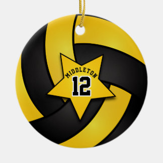 Yellow and Black Star Volleyball Ceramic Ornament