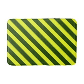 Yellow and Black Striped Bathroom Mat