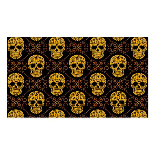 Yellow and Black Sugar Skull Pattern Business Cards