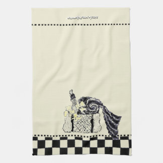 Yellow and Black Summer Picnic Basket Kitchen Towel
