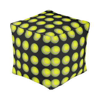 Yellow And Black Tennis Ball Pattern, Pouf