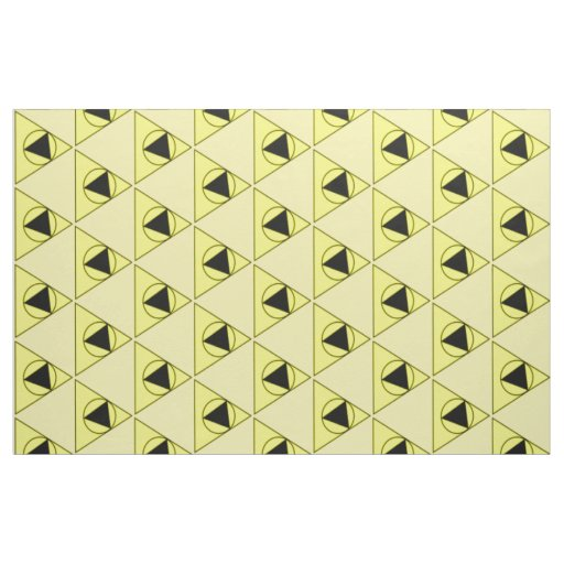 yellow and black triangle and circle design fabric