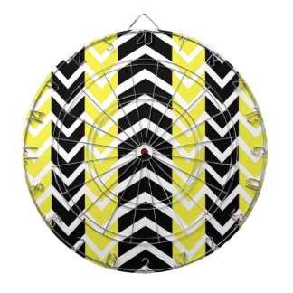 Yellow and Black Whale Chevron Dartboard