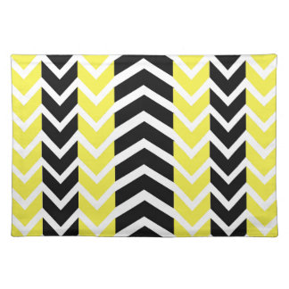Yellow and Black Whale Chevron Placemat