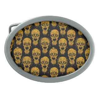Yellow and Black Zombie Apocalypse Pattern Oval Belt Buckles