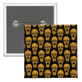 Yellow and Black Zombie Apocalypse Pattern Pinback Buttons