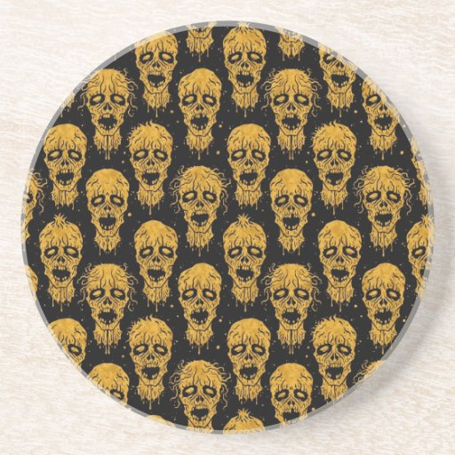 Yellow and Black Zombie Apocalypse Pattern Drink Coasters