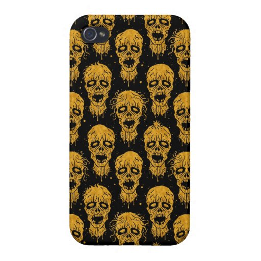 Yellow and Black Zombie Apocalypse Pattern Covers For iPhone 4